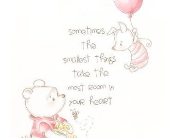 ON SALE Winnie the Pooh print, classic pooh, home decor, wall art print, quote