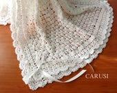 Baby Blanket  Crochet Baby Blanket Christening Baby Blanket Baby Wrap Blanket Ready to Ship