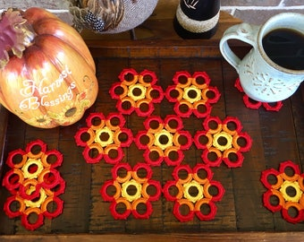 Autumn Doily and Coasters Set - Fall Doily Set - Housewarming Gift - Rustic Doilies - Flower Doily - Coffee Table Doily - Crochet Lace Doily