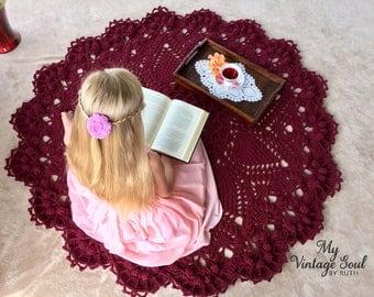 Burgundy Doily Rug - Crochet Lace Rug - Farmhouse Decor - Area Rug - Wedding Gift - Pineapple Doily Rug - Handmade Rug - Nursery Room Decor