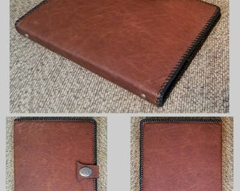 "Reserved for Charles- Rustic Slim 1"" Three Ring Folio, TopGrain Two-Toned Leather 12x10x1 Binder, 7 Pocket Interior, HandLaced"