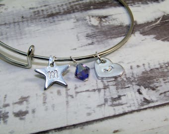 Personalised Charm Bangle - Made with Swarovski Crystals