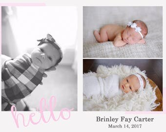 Birth Announcement Card, Postcard, Baby Announcement, Baby Picture, Newborn, Digital File, Printable, Customizable