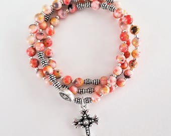 Red / Gray / Mustard Jade Stretch Rosary Bracelet