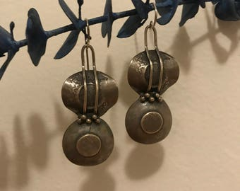 Vintage Sterling Silver Handmade Dangling Guitar Earrings
