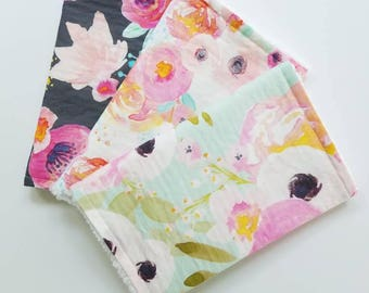 Floral Burp Cloth Set, Watercolor Floral Burp Cloths, Baby Girl Burp Cloths, Floral Burp Cloths, Baby Girl Gift