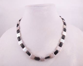 Black and Silver Painted Squares Necklace & Earrings