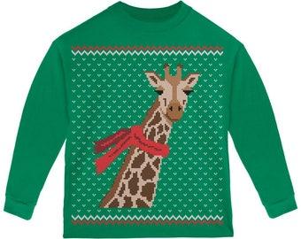 Big Giraffe Scarf Ugly Christmas Sweater Toddler Long Sleeve T Shirt