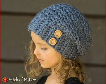 Crochet PATTERN - The Woodridge Slouchy Hat Pattern (Toddler to Adult sizes - Girls, Boys) - id: 16059