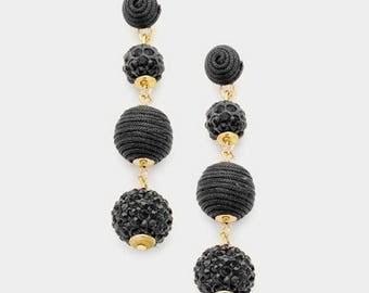 Bon Bon Earrings, Les Bonbons Earrings, Crispin Drop Earrings, Triple Ball Earrings, Thread Wrapped Ball Earrings, Black Fireball Earrings