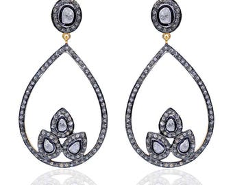 Silver pave polki diamond earrings – Two tone