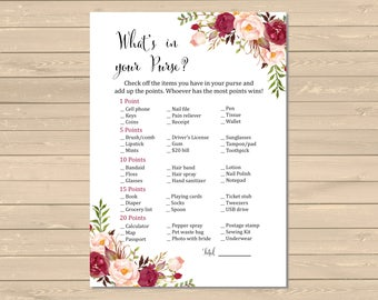 Burgundy Boho Bridal Shower What's in your Purse Printable Game, Marsala Floral Purse Activity, Boho Bridal Shower, Instant Download, 120-W