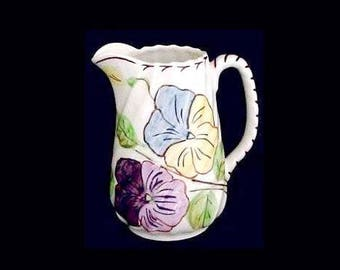 AWESOME Blue Ridge Pitcher China Southern Potteries PANSY TRIO Spiral Pitcher Pink Yellow Blue PurpleFlower Red Hand Painted Jug (B25) 7485
