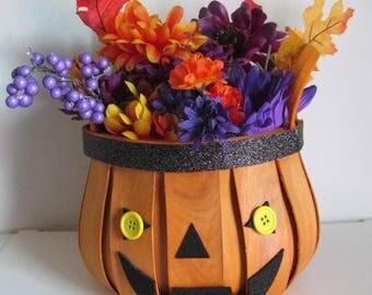Jack-O-Lantern Themed Halloween Silk Flower Arrangement