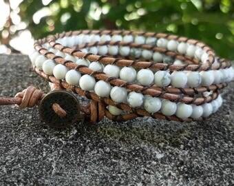 3 Wrap bracelets howlite bracelets stone bracelets men bracelets women bracelets fashion bracelets leather bracelets