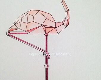 Geometric Flamingo Print