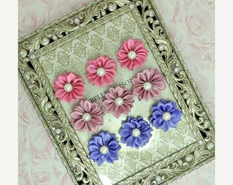 30% OFF Set Of 9 The Belle Collection Hot Pink / Mauve / Lilac Purple Shades Small Satin Flower W/ Pearl Center Fabric Flowers Wedding DIY F