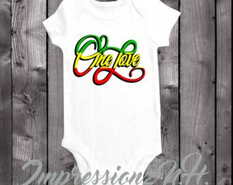 One Love baby onesie and bodysuit,  one-piece shirt, band onesie, reggae music