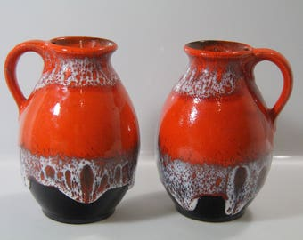Pretty pair of vases by Jasba N04612 14 WGP West German Pottery Midcentury Fat Lava *2*