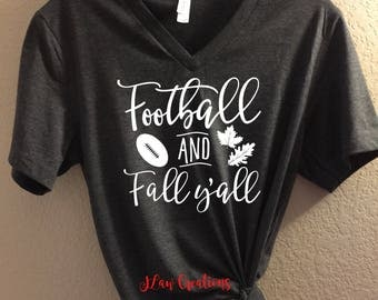 Football and Fall Y'all - Bella + Canvas Unisex Tee, Football Shirt, Football Tee, Football Mom, Football Lover tee, football y'all, sports