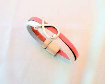 Leather BRACELET 10 mm white and pink