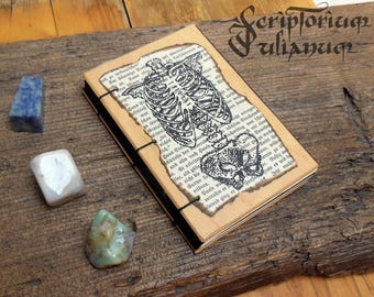 Skeleton journal, human anatomy notebook, book of shadows, wooden cover, gothic grimoire, occult sketchbook, gothic medical gift,Ostara gift