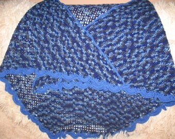 Blue crocheted shawl
