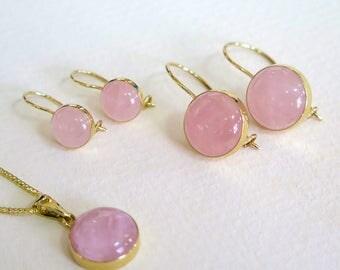 Rose Quartz Set - 14k Rose Quartz Necklace - Rose Quartz Necklace - Rose Quartz Jewelry - Gold Jewelry - Gift For Her - Rose Quartz Earrings