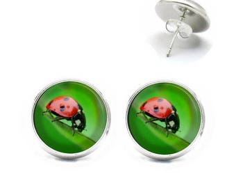 Earrings cabochon jewelry red with black spots LADYBIRD 1