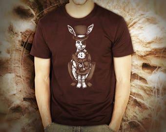 Steampunk white rabbit brown t shirt for men, screen printed men's short sleeve tee shirt, Size S, M, L, XL, XXL