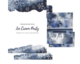 SNOWFLAKES & NAVY BLUE Washes Watercolor Clip Art Digital Graphics 600dpi png Digital paper winter snow north  Wedding Scrapbooking