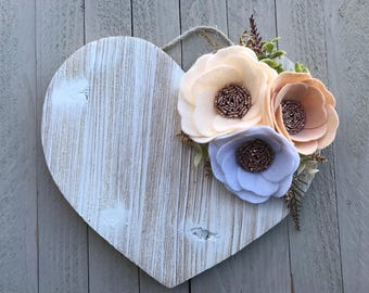 Wood Heart Neutral Wall Hanging with Felt Roses, Wood Heart Wall Hanging, White Wood Heart Wall Hanging