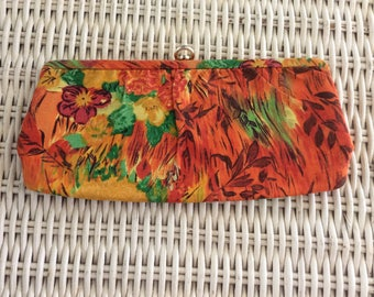 Vintage Clutch Purse, Mid Century Bark Cloth, Tropical Bright Colors