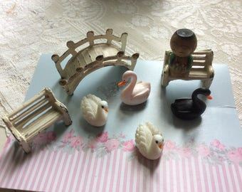Antique And Vintage Miniature Doll House Lot, Cast Iron, Wood and Plastic, 8 Pieces