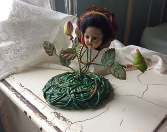 Altered Salvage Doll Art, Princess Floral and Fauna, all vintage Found Stuff