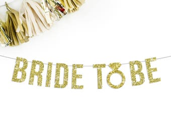 Bride To Be Banner | bridal shower party decorations bachelorette party wedding engagement party banner gold black silver pink decorations