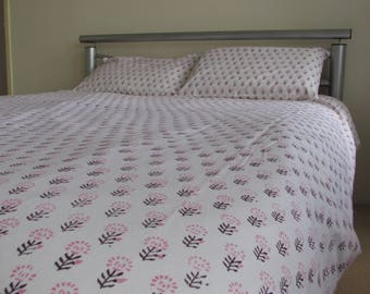 Block Printed Duvet Cover with Pillow Cases