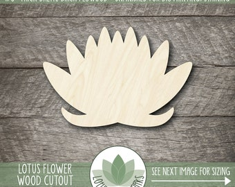 Lotus Flower Wood Laser Cut Shape, Wooden Lotus Cutout, Unfinished Wood For DIY Projects, Many Size Options, Lotus Flower Wall Decor