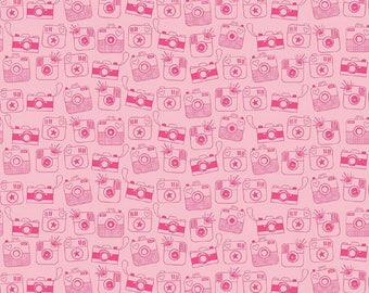 "Riley Blake Fabrics-  ""Snapshots""  by Bella Blvd   Cotton Fabric in Pink  Remnant"