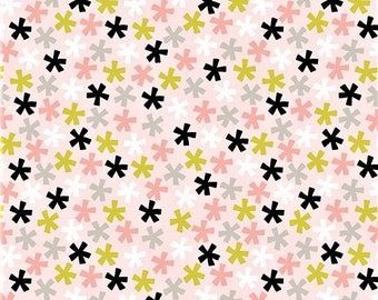 "Riley Blake  My Minds Eye   ""Meow""   Asterisk-Pink   Cotton Fabric"