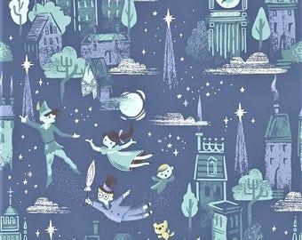 """Riley Blake  Jill Howarth  """" Neverland""""   Main-Blue  Cotton Fabric"""