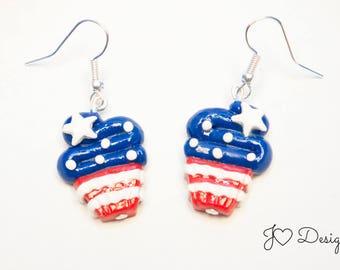 4th Of July Earrings, Patriotic Earrings, Cupcake Earrings, Red White & Blue, Military Homecoming, Sterling Silver Earrings