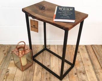 Steel & English Walnut Wood Side Table / Handmade Furniture