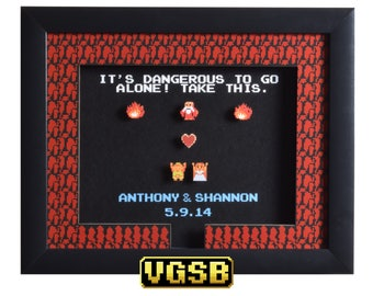 Legend of Zelda Shadow Box - Take This Custom - NES - Nintendo - 3D Shadow Box Glass Frame - 12x10 - Anniversary Gift - Wedding Gift