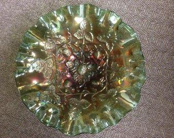 Carnival Glass 3/1 Edge Bowl in Green