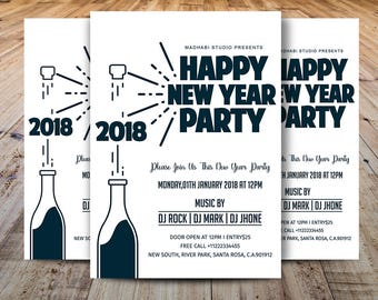 Attractive New Year Party Flyer Template | Printable New Year Invitation Card | MS  Word,Photoshop