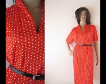 Vintage 60s Jersey dress robe gown Mille fleurs XL.