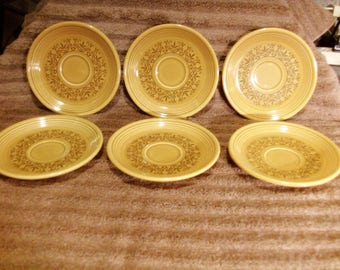 "Six Casualstone ""Coventry"" Saucers 70's Homer Laughlin"