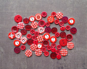 Lot 60 shade mix size printed Transparent matte red plastic buttons