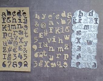 Die cut Sizzix large background letter Alphabet figure Vintage